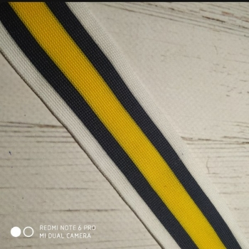 Лампас полоса синяя, белая, жёлтая, 4см, трикотаж