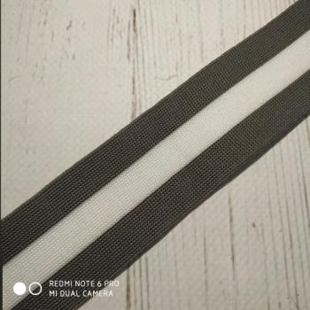 Лампас 4см, трикотаж, серый, белый