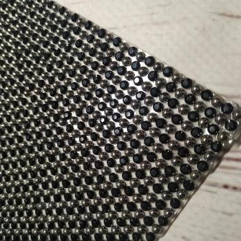 Стразы полотно код 42080 «ЧЁРНЫЙ ЖЕМЧУГ» цена за 1 см. ширина и 40 см. длина