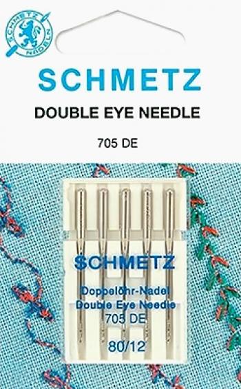 Иглы с двойным ушком №80 Schmetz 130/705DE 5 шт
