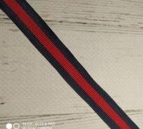 Лампасная лента (синий, красный) 1,5см код 807, тесьма рубчик